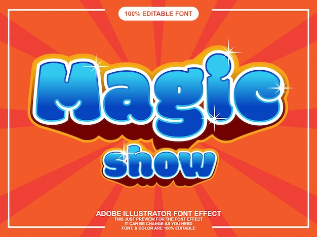 Fun magic show lettering editable typography font effect