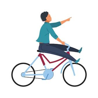 自転車で楽しい男。ヤングアダルトハッピーサイクルライディング。夏のライフスタイルや白い背景のトレーニングのように、自転車に乗ってベクトル文字