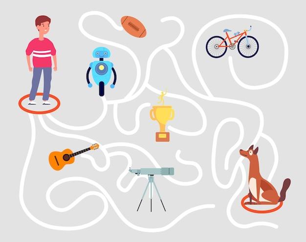 재미있는 미로 게임. 어린이 미로, 교육 유치원 어린이 퍼즐 놀이. 해결책을 찾고 소년이 올바른 도로 벡터 삽화를 선택하도록 도와주세요. 퍼즐 미로와 미로 놀이, 교육 유치원