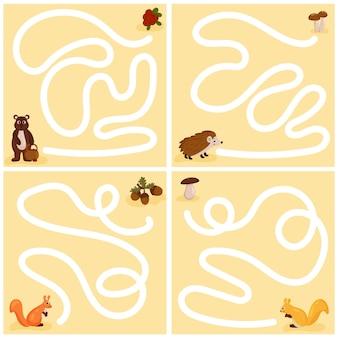 어린 아이들을 위한 재미있는 미로 세트. 어린이 교육 게임 모음입니다. 벡터 만화 스타일입니다.