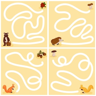 Fun maze set for younger children. a collection of children's educational games. vector cartoon style.