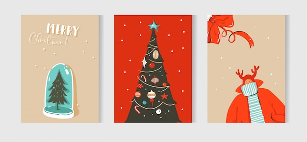 Fun merry christmas time  cards collection set with cute illustrations isolated on craft paper background