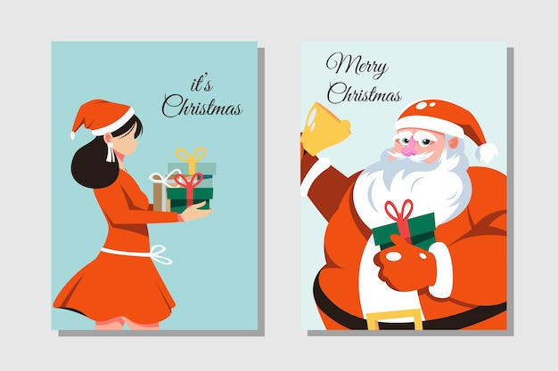 Fun merry christmas time cartoon cards collection set with santa claus and girl