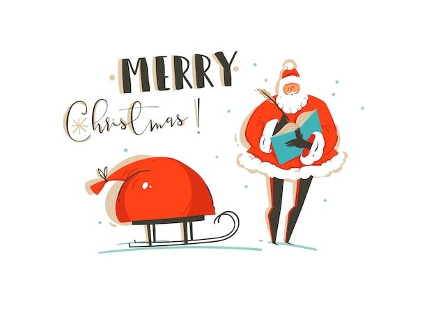 재미 산타 클로스와 메리 크리스마스 시간 그림 인사말 카드, 썰매와 흰색 배경에 고립 된 현대 인쇄 술에 많은 깜짝 선물 가방.