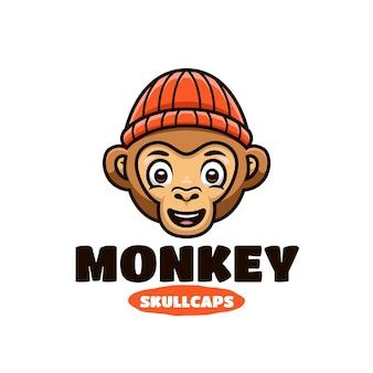 재미있는 원숭이 / 침팬지 귀여운 만화 로고