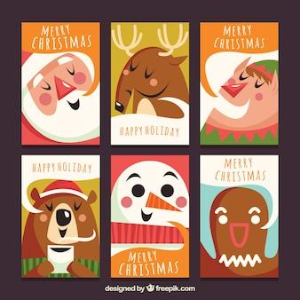 Pacchetto divertente di cartoline di natale
