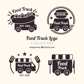 Fun pack of food truck logos with elegant style