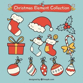 고전적인 크리스마스 요소의 재미있는 팩
