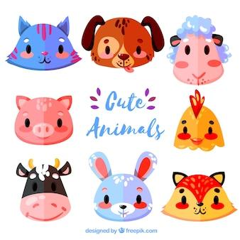 Веселый пакет красочных животных лиц