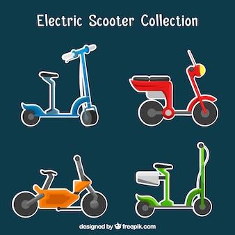 Веселый пакет электрических скутеров Бесплатные векторы