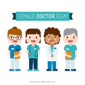 행복한 여성 의사의 재미있는 팩