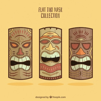 Fun pack of wooden tribal masks