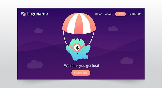 Fun page not found landing page design