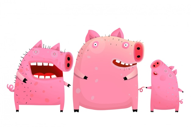 Fun pig family father mother and son