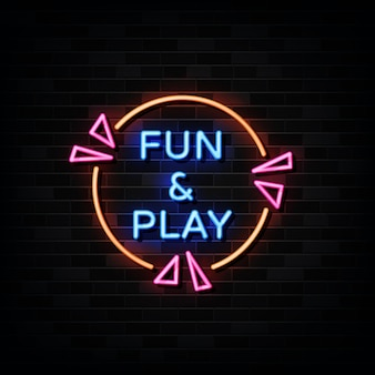 Fun and play  neon signs .  template neon style.