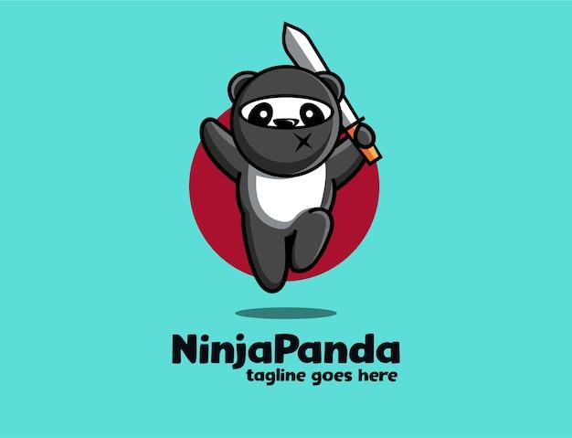 Весело игривый ниндзя панда талисман мультфильм логотип значок иллюстрации шаблон