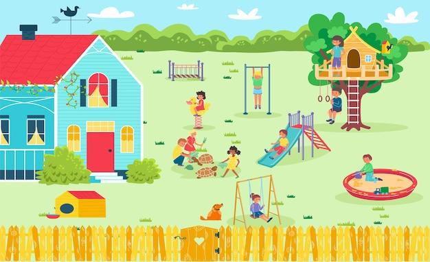 Веселая игровая площадка на заднем дворе