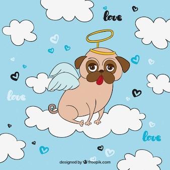 Fun pug with angel costume