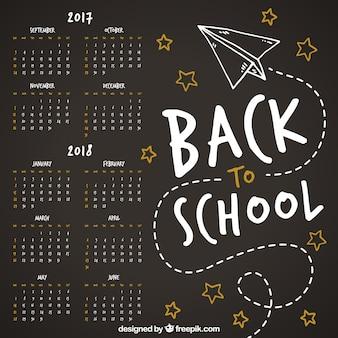 Fun school calendar with paper plane