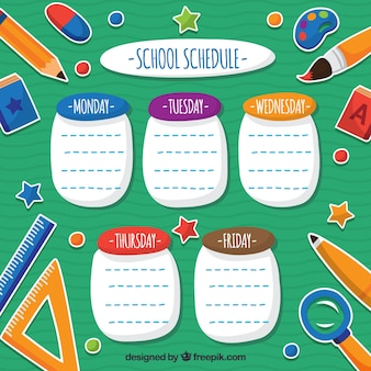 Fun school schedule with school materials
