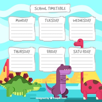 Fun school timetable with dinosaurs