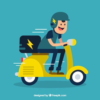 Fun scooter delivery with flat design