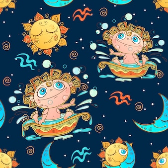 A fun seamless pattern for kids. zodiac sign aquarius.