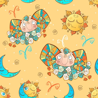 A fun seamless pattern for kids. zodiac sign aries.