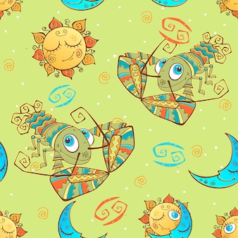 A fun seamless pattern for kids. zodiac sign cancer.