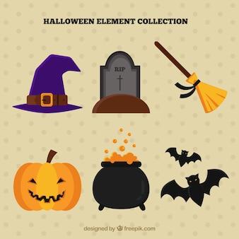Divertente insieme di elementi di halloween