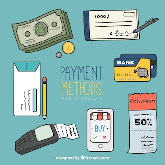 Fun set of hand drawn payment methods
