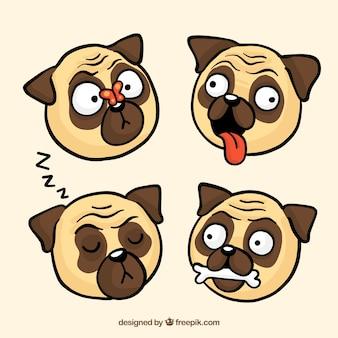 Fun set of hand drawn pugs