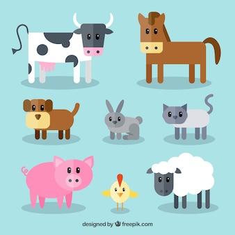 귀여운 농장 동물의 재미있는 세트