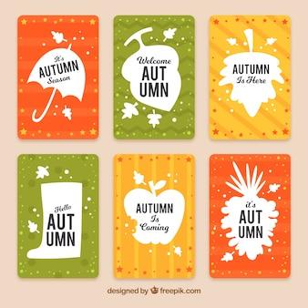 フラットな秋のカードの楽しいセット