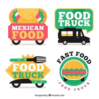 フラットな食品トラックのロゴの楽しいセット