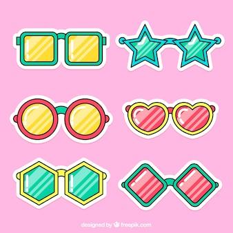 태양 안경 스티커의 재미있는 세트