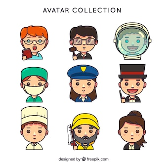 Fun set of workers avatars