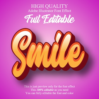 Fun smile script editable typography font effect