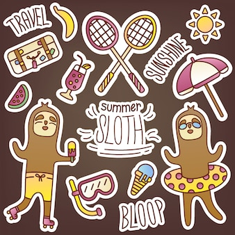 여름 테마로 나무 늘보와 함께 재미있는 스티커 팩. 일기를 장식하는 귀여운 계절 사진. 여행, 레저, 엔터테인먼트, 스포츠, 음식, 과자, 수영, 일광욕. 온라인 상점 디자인.
