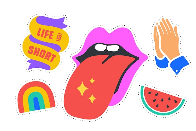Fun stickers. colorful fun stickers - rainbow, mouth with tongue, ribbon.