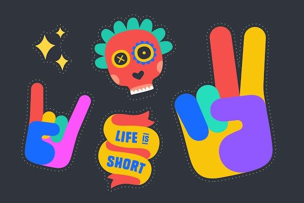 재미있는 스티커. 다채로운 재미 스티커-리본, 바위 손 기호, 해골, 승리 손 기호, 별. 만화 스티커, 핀, 세련된 패치, 어두운 배경에 격리된 배지를 디자인합니다. 벡터 일러스트 레이 션