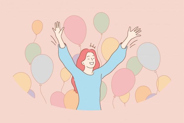 楽しい成功のお祝いの休日の喜びの概念