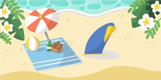 Веселый летний пикник на песчаном пляже каракули иллюстрации