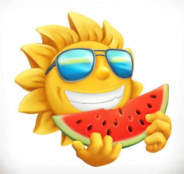 スイカと楽しい夏の太陽。
