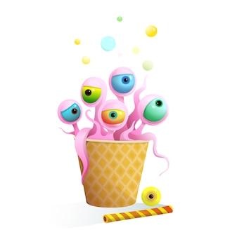 ワッフルカップに目と触手のデザートがたくさん入った楽しい甘いモンスター。子供のためのクレイジー架空の生き物のデザートキャラクターデザイン、3d漫画。