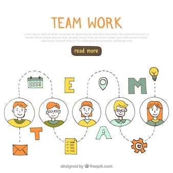 Fun team work concept with hand drawn style