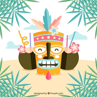 Fun tiki mask with coconut cocktails