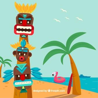 フラミンゴとビーチで楽しいティキトーテム