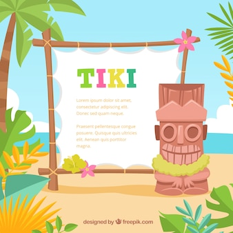 Fun tiki totem with poster on the beach