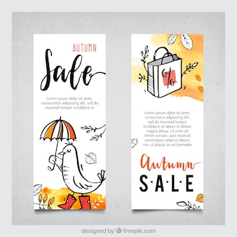 Banner di vendita autunno di acquerello funzionale